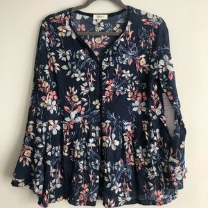 Brand new w/o tags, floral navy top